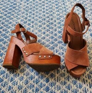 Lucky Brand Brown Suede Platform Heels
